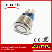 22mm stainless steel waterproof 24v led light illuminated vandal resistant push button switch metal