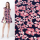 newest flower border print dress fabric women casual one piece dress in floral