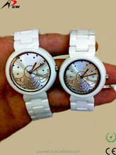 2014 cool sapphire glass crystal diamond face ceramic watches ladies top brand