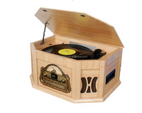 DS-168 Old Fashioned Vinyl Record wooden Turntable with CD Player Radio and Cassette