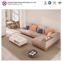 Nordic sofa L shape wood frame 6 seater fabric sofa set designs from china