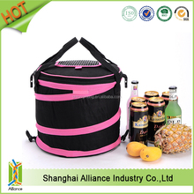 600D polyester zipper pocket flap collapsible insulated round cooler lunch bag