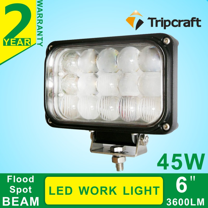 Warranty 2 year IP67 12V 24V Crees high efficiency off road 45w led work light