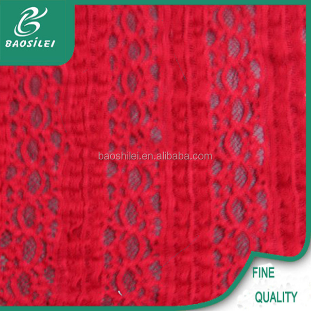 High quality heavy lace fabric elastic red lace fabric for long sleeved lace bridesmaids dresses