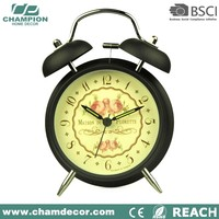 Old fashion metal wind up double bell multi alarm clock , talk silent alarm clock 2016