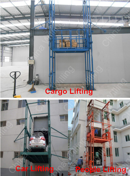 3t load capacity guide rail warehouse cargo lift