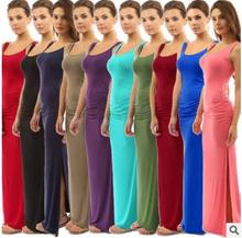 Sleeveless dress casual lady solid color design woman maxi long dresses
