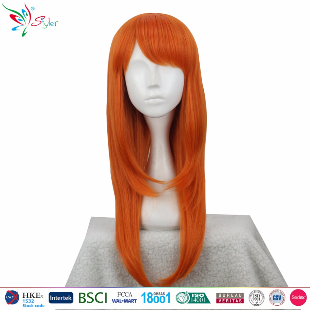 Styler Brand charming malaysia long dark orange Hair straight cosplay wig cap shop online