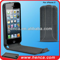 2014 popular flip real leather case for iPhone 5