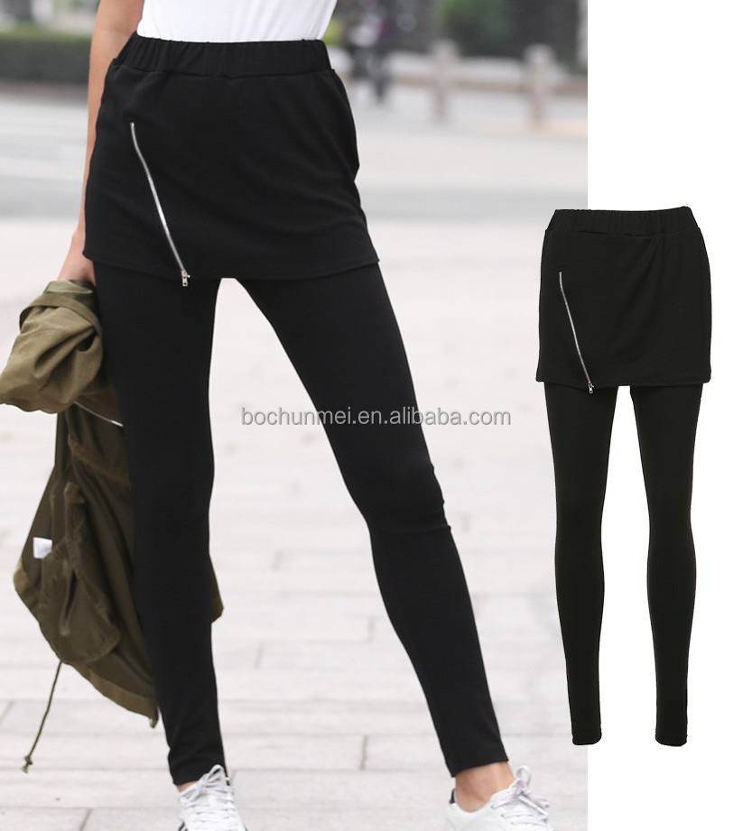 2017 Europe hot sale spring new arrival 2- in-1 black zipper skirt leggings wholesale