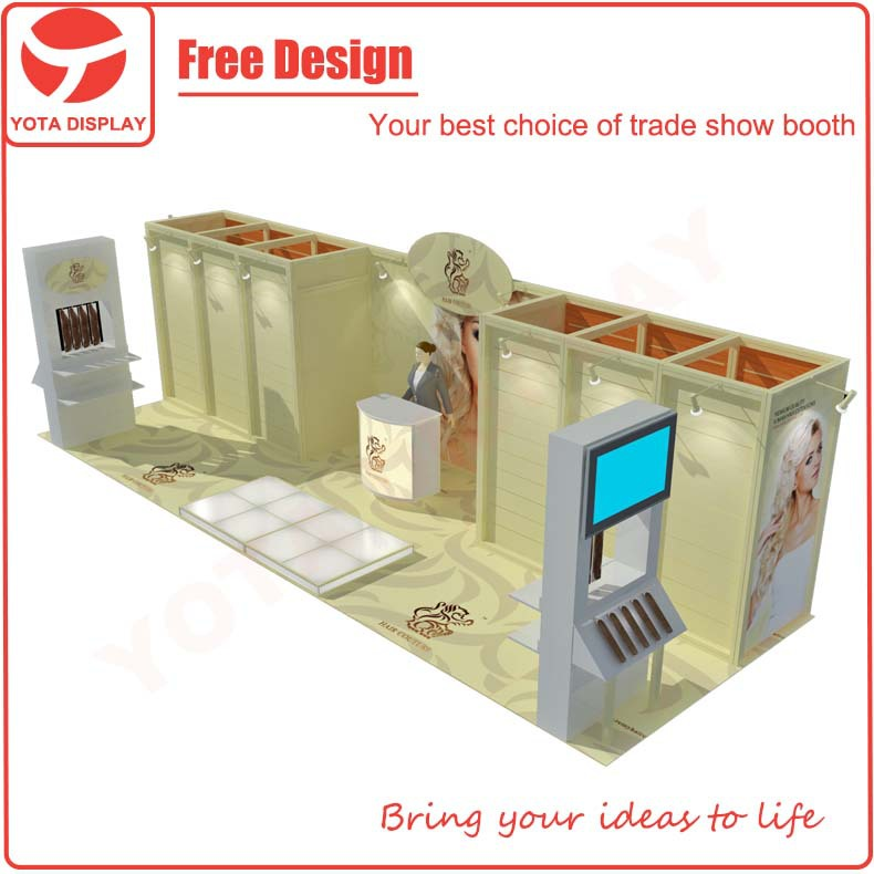 Yota yellow painted 3x9 exhibition booth trade show display with glass floor