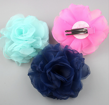 New Design Artificial Flower Making Cheap Hair Accessories with Clips B192
