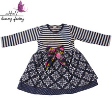 Wholesale beautiful cotton newest cute stripe children clothings designer one piece dress girl kids
