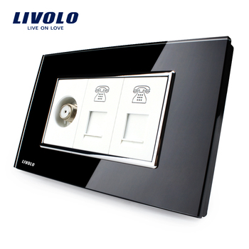 Livolo US Standard Socket 15A AC 125~230V Black Tempered Glass Wall Satellite Television with TEL Sockets VL-C3C2STTT-82