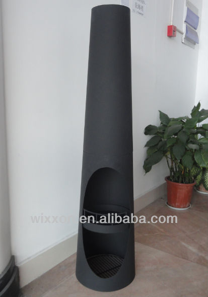 cast iron wood burning chiminea outdoor fireplace with high temprature painted