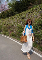 Korean women long one-piece clothes