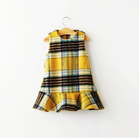 Toddler Girls Winter Plaid Wool Dress Kids Princess Skirt