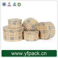 Fansy Plaid Design Custom Logo Cardboard Lid And Bottom With Rope Handle For Hat Big Round Box