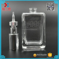 2016 new design high quality 50ml embossed logo square glass perfume bottle with sprayer