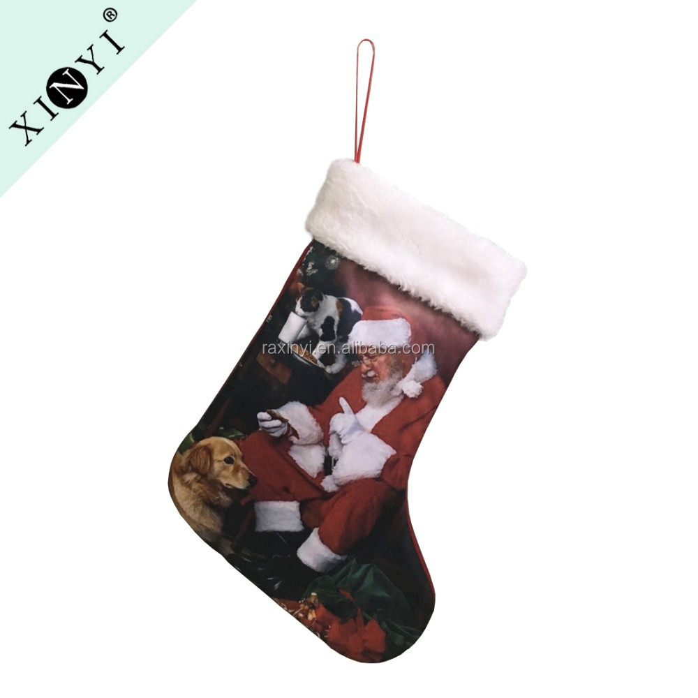 Promotional customized print christmas socks decoration wholesale christmas stocking promotional gift 2016