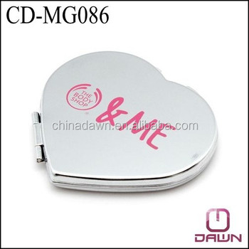 Metal plain heart shaped logo cosmetic mirror for promotion CD-MG086
