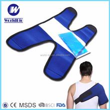 flexible soft reusable gel ice pack wrap with adjustable strap for shoulder