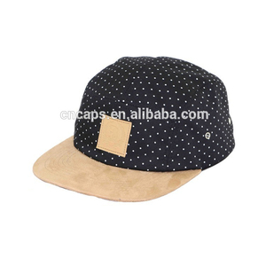 Custom Dot Pattern Wholesale 5 Panel Cap Flat Short Brim 5 Panel Camp Hat 520f7068f1cc