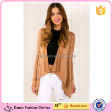 2016 newest design the most popular long sleeve tan color fashion sueded coat