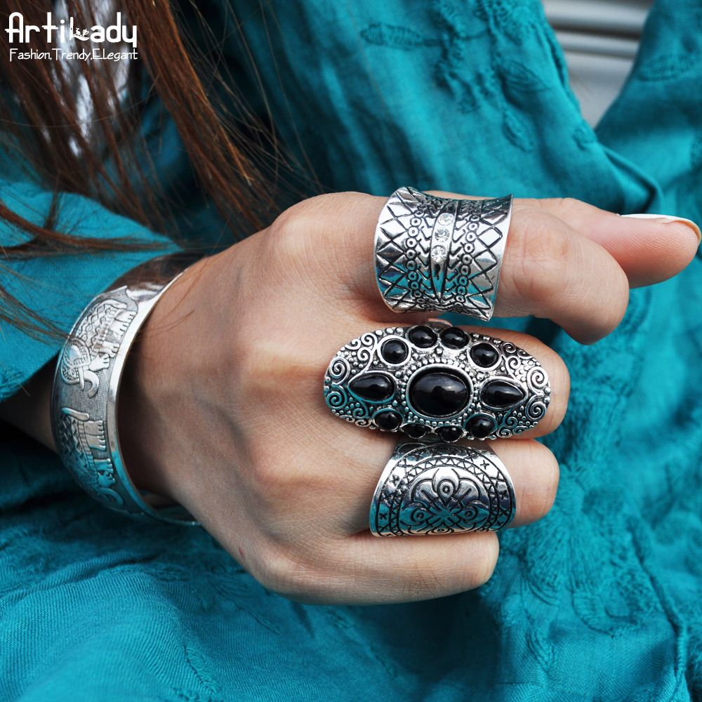 Artilady 3pcs set boho jewelry ring set fashion Bohemia antic silver ring for women jewelry party gift