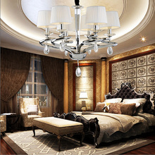 expensive modern fabric cover crystal chandelier living room lighting