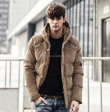 New fashion winter puffy quilted men's corduroy jacket