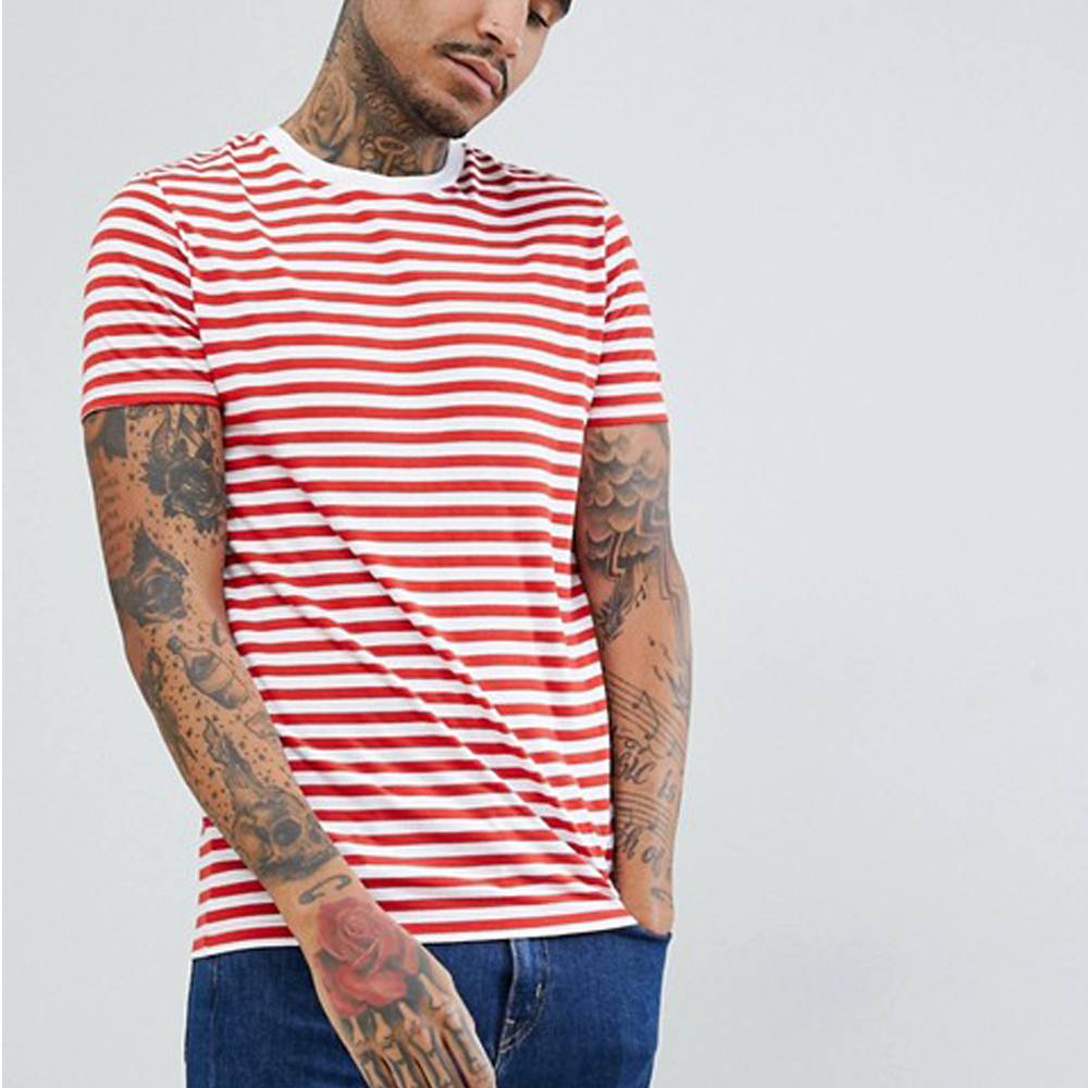 Yanlu Clothing Custom High Quality 100%Cotton White And Red Stripe Tshirt Slim Fit Scoop Man Tshirt