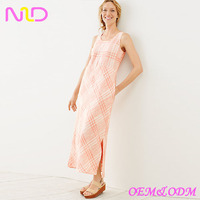 Women's linen long pink plaid dress sleeveless