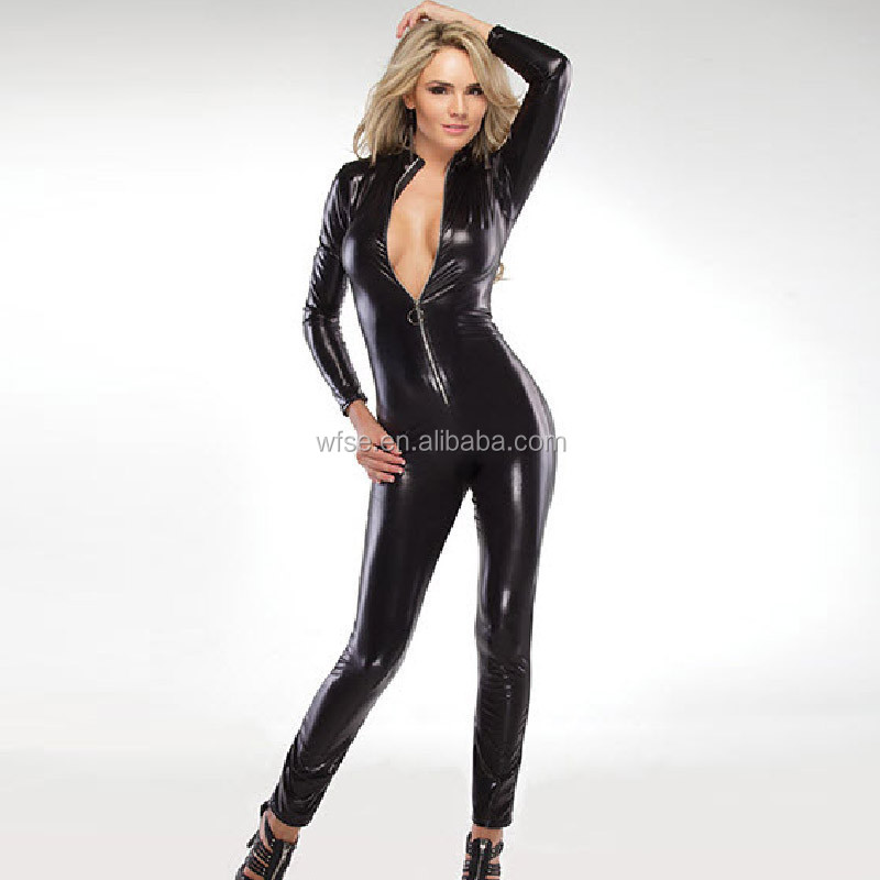 sexual costumes for women erotic Faux Leather lingerie ladies underwear full bodysuit catsuit sexy tight jumpsuits Clubwear