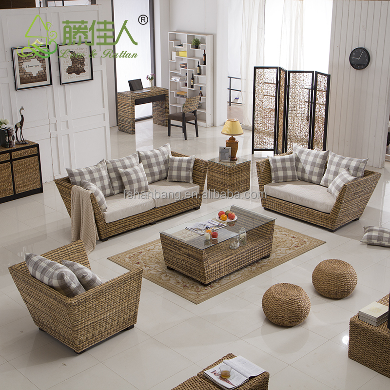 vintage leisure style real rattan wicker living room sofa