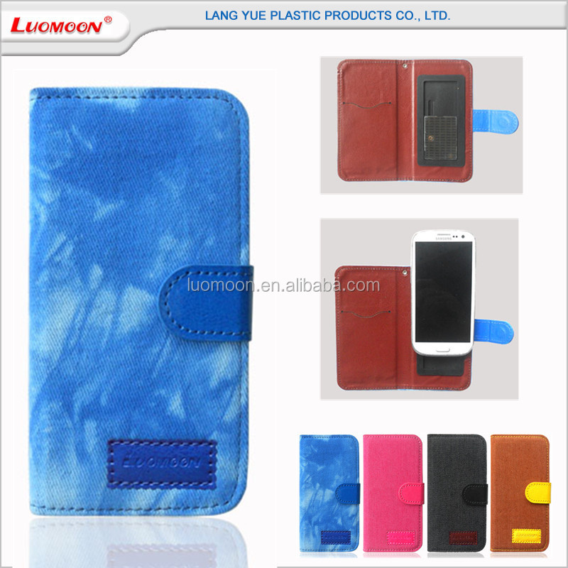 Omnipotent Jean Pattern Decorated PU Synthetic Leather Sucker Cup Phone Case