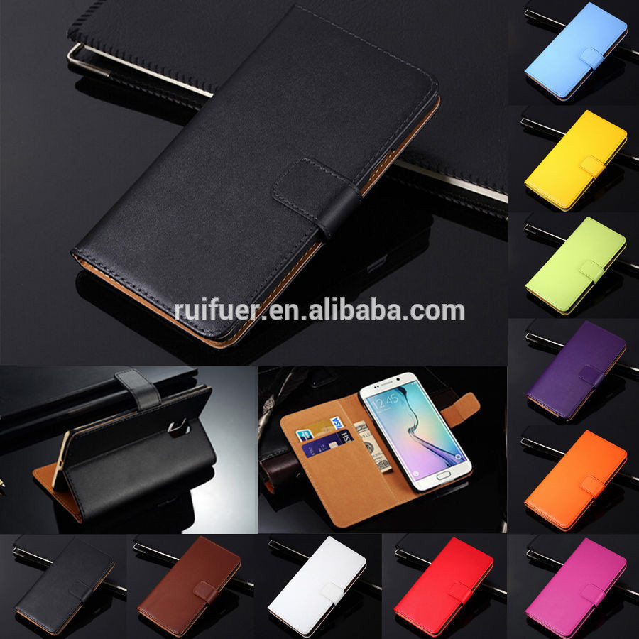 Factory Wholesale High Quality 100% Real Genuine Leather Flip Wallet Cover Case for Samsung Galaxy Note 7