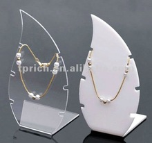 Drop shape acrylic clear& white jewelry display stand