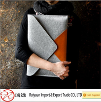 High Quality 2016 Women Leather Fashion Felt Laptop Sleeve