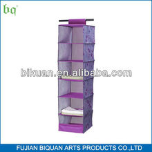 Purple 6-shelf canvas hanging closet shelf organizer