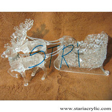 Clear Plastic Reinder and Sleigh,Christmas Acrylic Silver Decorated 2 Reindeer