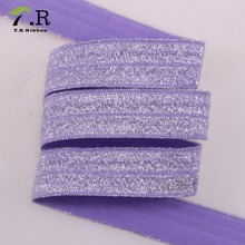 wholesale foe shinny nylon printed folded elastic ribbon
