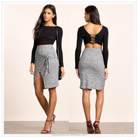 hot sale girl sexy tight mini knotty nature elasticized waist pencil skirt made in china