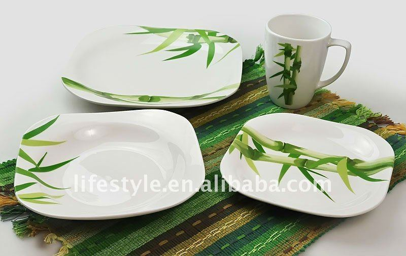 Corelle Squares Bamboo 32-Piece Dinnerware Set, Service for 8