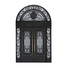 Iron pipe door design modern decoration front double entry wrought iron arch door