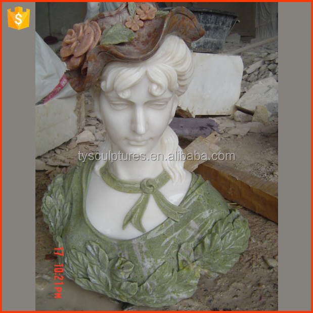 Famous and home popular decorative european colored stone girl bust sculpture