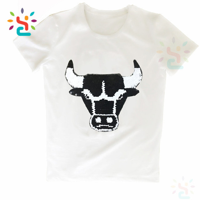 Mens Bull Sequins t shirt Reversible Shiny Two Way Sequins tee shirt Changeable clothes for man