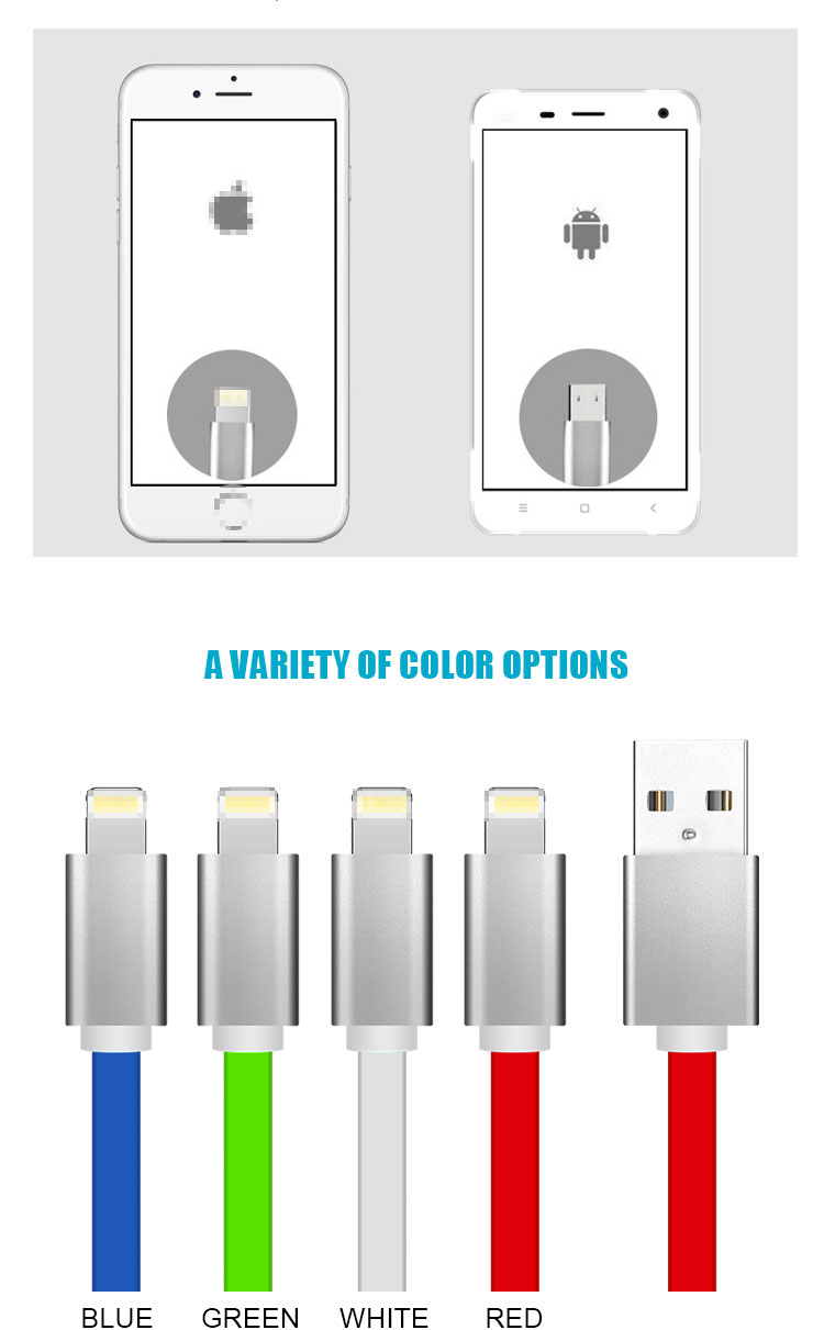 Portable Universal Quick Charging Colorful Aluminum Alloy 5V 2.1A Double Sided Micro 2 in 1 Usb Data Cable For iPhone