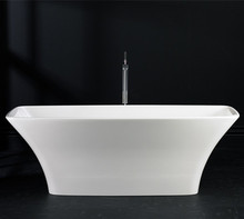 Adult outdoor portable small freestanding solid surface cast artificial stone bathtub