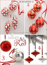 Newest design balls red and silver ball for christmas tree indoor decoration